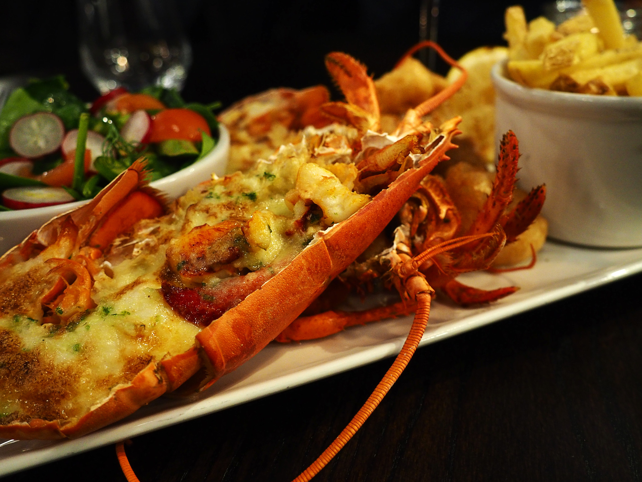 Champagne lobster thermidor